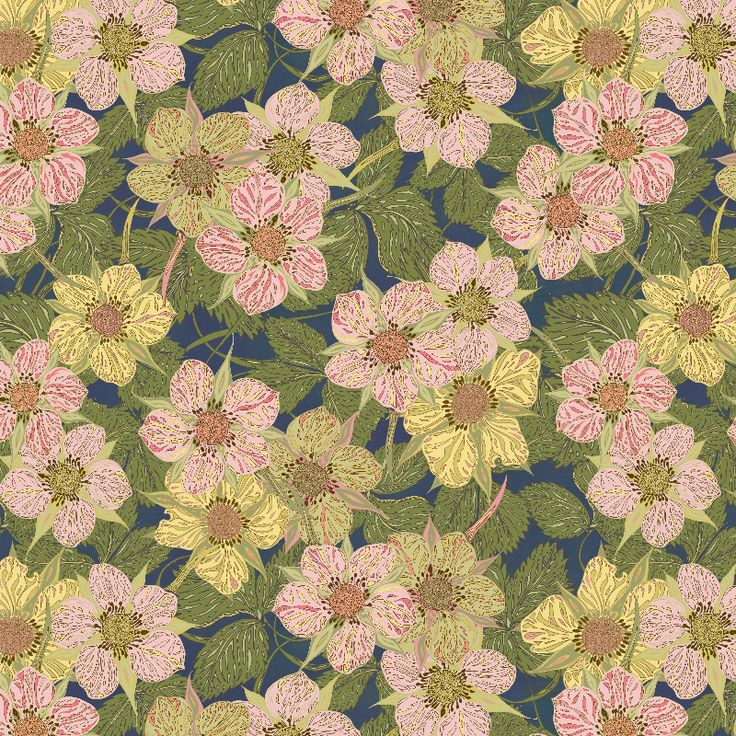Strawberry Flowers Dark by Lottibrown   Pretty strawberry flowers against a dark background - sweet, nostalgic and feminine floral. Originally hand-drawn and then combined digitally to create a pattern.