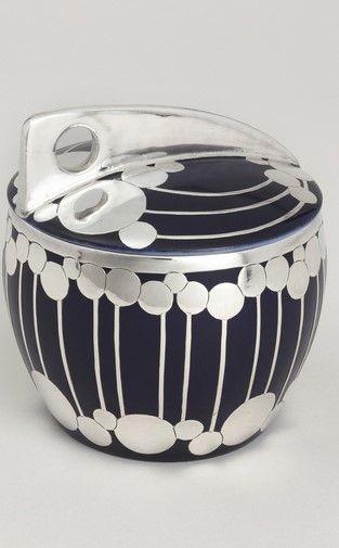 Jutta Sika, Sugar bowl with lid, 1902. Molded and glazed porcelain with silver overlay. Made by Wiener Porzellan Josef Böck / Wiener Werkstätte.