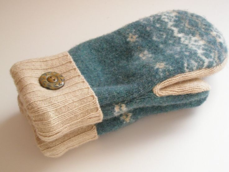 Wool Mittens Felted Recycled Sweaters Fleece-Lined Warm Cozy