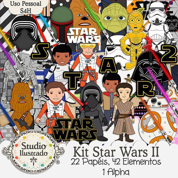 Kit Star Wars II, Star Wars Kit, Cinema, Movie, Batalha, Battle, Guerra nas Estrelas, Robô BB-8, BB-8 Robot, Rey, Jedi, Princesa, Guerreira, Princess, C-3PO, Lightsaber, Sabre de Luz, Darth Vader, Storm Tropper, Anakin Skywalker, Boba Fett, Chewbacca, Poe Dameron, Yoda, Finn, Kylo Ren, Captain Phasma, Kit Digital, Digital Kit, Elementos, Papéis, Elements, Papers, Alpha