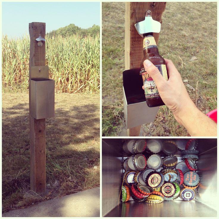 Fence post + bottle opener  cap catcher = best outdoor accessory ever! Work smarter, not harder. #outdoor #diy