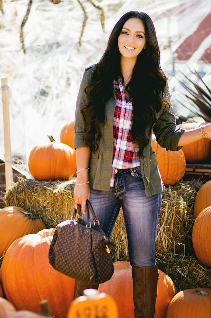 Vanessa Balli: Fall in San Diego Fall, Outfit, Plaid, Boots, Olive Jacket