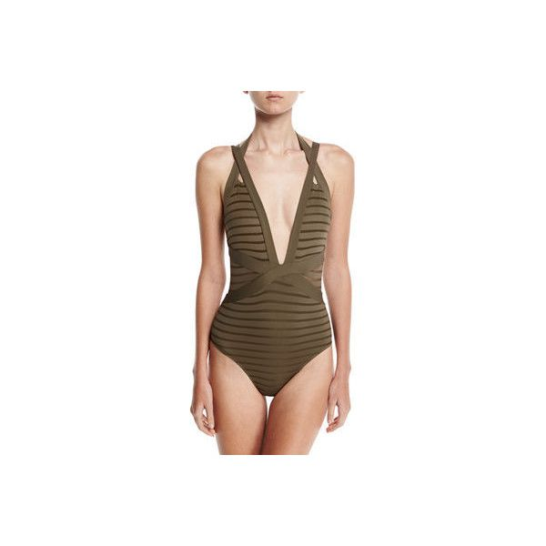 Jets By Jessika Allen Parallels Crisscross Halter One-Piece Swimsuit ($195) ❤ liked on Polyvore featuring swimwear, one-piece swimsuits, grey, one piece bathing suits, plunge one piece swimsuits, criss cross one piece bathing suit, one piece swimsuit and sheer swimsuit
