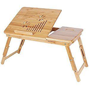 Songmics Neu Laptoptisch Betttisch Notebook Lese Tisch aus Bambus, höhenverstellbar, Faltbare, 55 x 35 x 29 cm LLD002