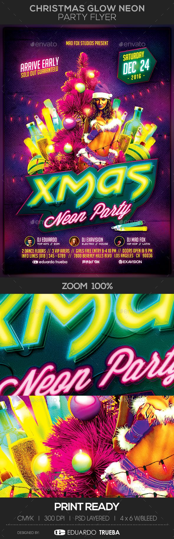 best images about christmas flyer templates christmas glow neon party flyer