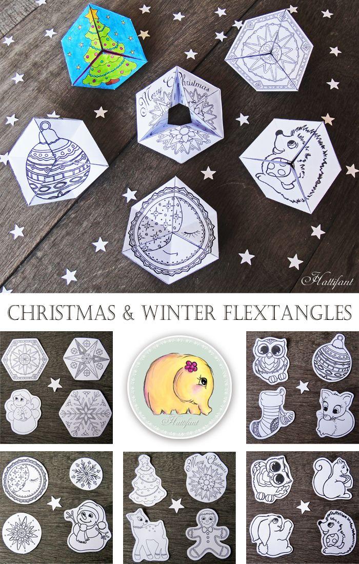 Adorable Printable Christmas Flextangles for Kids - Crafty Morning