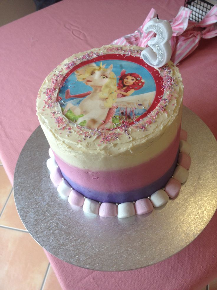 Abi's 3rd birthday Mia and me cake. Pink purple and white buttercream