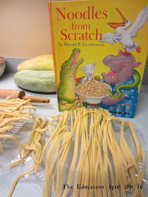 Making noodles from scratch with the book. Kids cooking in the kitchen.