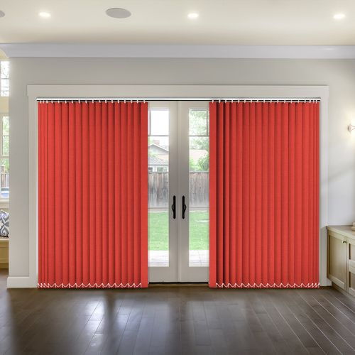 A Bright Red Textured Effect Material Available In An 89mm Slat Width For  Vertical Blind