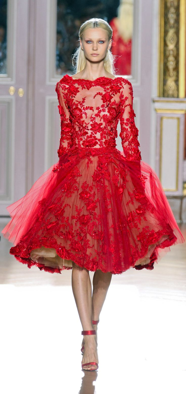 Zuhair Murad Fall 2012 Couture. This is such a beautiful, eye-popping fun cocktail dress. I would love to wear this. The lace effects are obviously wonderfully on point so there's that too!