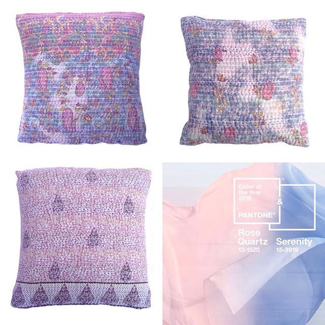 Pantone colour of the year 2016... We have you covered, at least your cushions covered!! Remember, 10% off storewide! Use code welcome10.  #globalliving #interiors #homewares #decor #throws #quilts #kantha #cushions #interiordesign #colour #ceramics #pantone #pantonecolouroftheyear2016