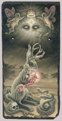 painting,art,pop-surrealism,heather watts,rabbit,jackalope,desert,nuclear,atomic,gods,apocaplyptic,eerie