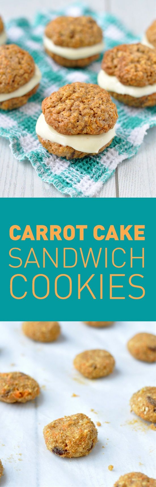 Light and fluffy cookies loaded up with sweet shredded carrots and plump, juicy raisins sandwiched together with a rich cream cheese frosting, these carrot cake sandwich cookies are the ultimate springtime snack!