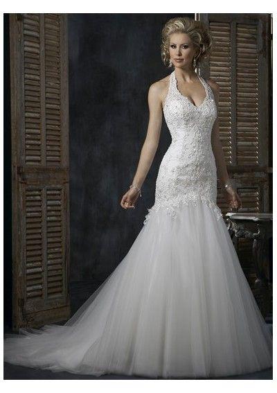 casual bright a-line sexy deep v-neck a-line wedding dresses