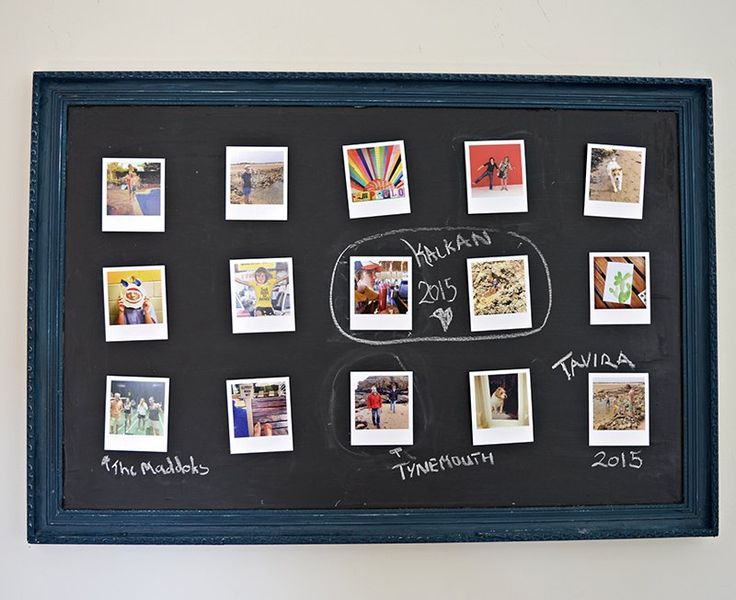 upcycled velcro chalkboard photo wall display, chalkboard paint, crafts, home decor, repurposing upcycling