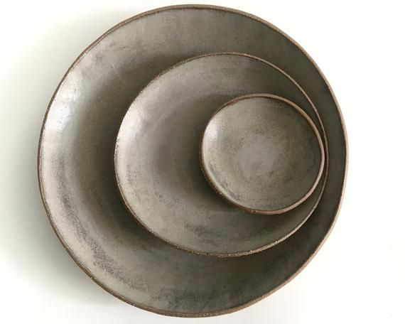 ceramic plate set rustic modern dinnerware misty gray matte glazed stoneware pottery dishes in