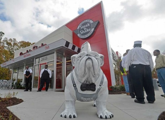 A bulldog statue, of course, decorates the exterior of the new Athens GA Steak N' Shake, which opened on Tuesday, Nov. 13, 2012 in Athens, Ga.