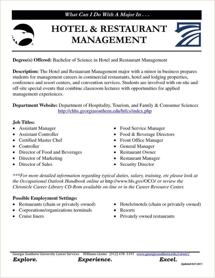 Cv format for Fresher Hotel Management Restaurant