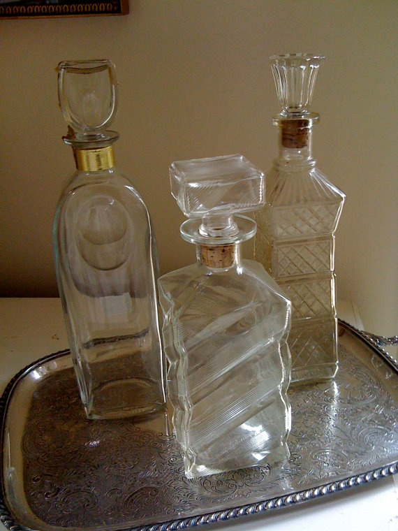 Decanters - Decor for Speakeasy / Gangster / 20's / Prohibition Party  Sort of, Capone or RHM.