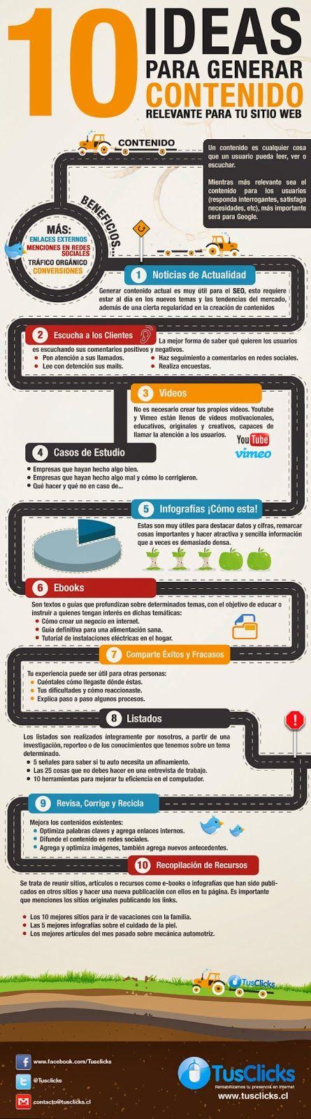 10 ideas para generar contenido relevante para tu sitio web. #infographic #infográfico