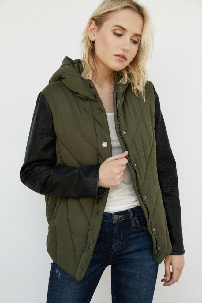 Blank NYC Faux Leather Sleeve Hooded Jacket
