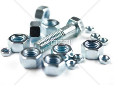 Bolt and Nuts - A single bult surrounded by nuts.