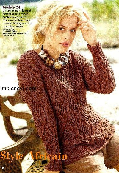 Ажурный пуловер спицами  ОПИСАНИЕ http://mslanavi.com/2014/08/azhurnyj-pulover-spicami-s-pletenymi-uzorami/