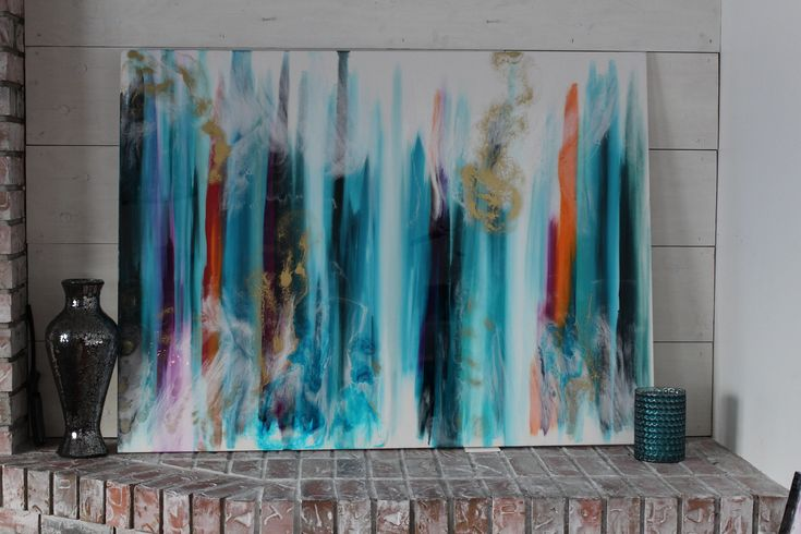 A personal favorite from my Etsy shop https://www.etsy.com/ca/listing/597889579/large-teal-orange-purple-resin-painting