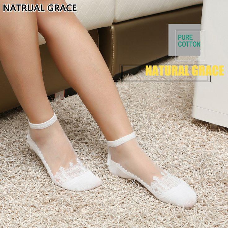 YUYAN Nature Grace Transparent Sexy Crystal Silk Wheat meias Anti-skidding  Invisible Socks Cotton  Brand Quality Women Socks