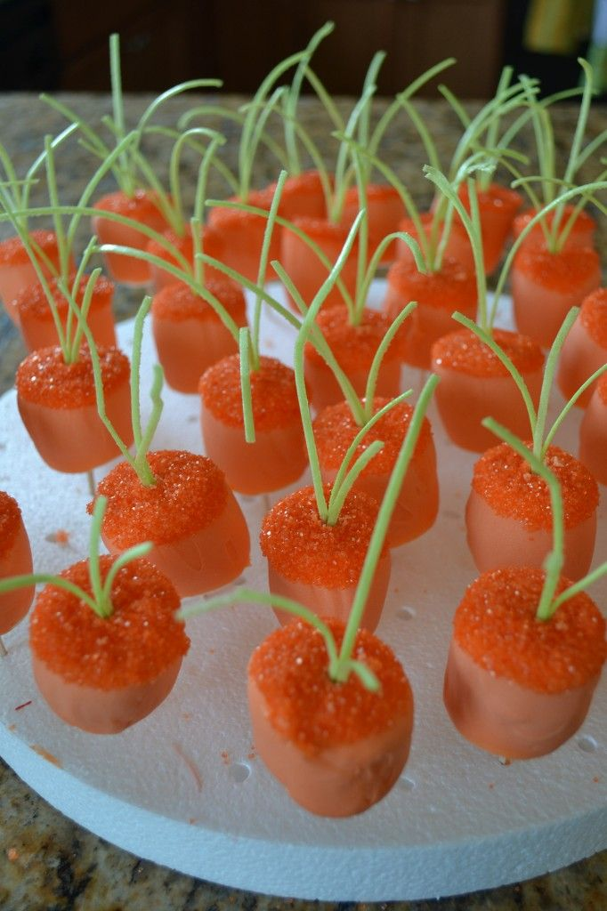 Marshmallow carrot patch -- so clever!