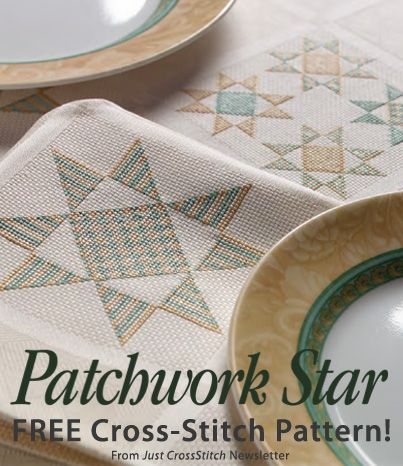 Patchwork Star Download from Just CrossStitch newsletter. Click on the photo to access the free pattern. Sign up for the newsletter here: AnniesNewsletters.com