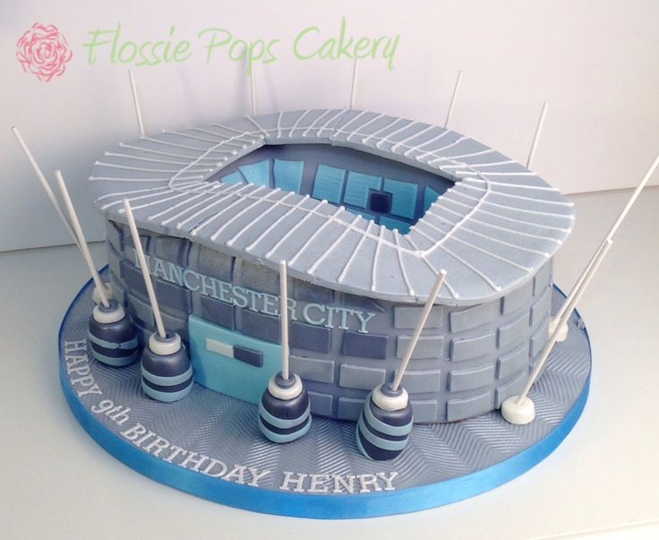 Ethiad City of Manchester Stadium Cake by Flossie Pops Cakery www.flossiepopscakery.co.uk
