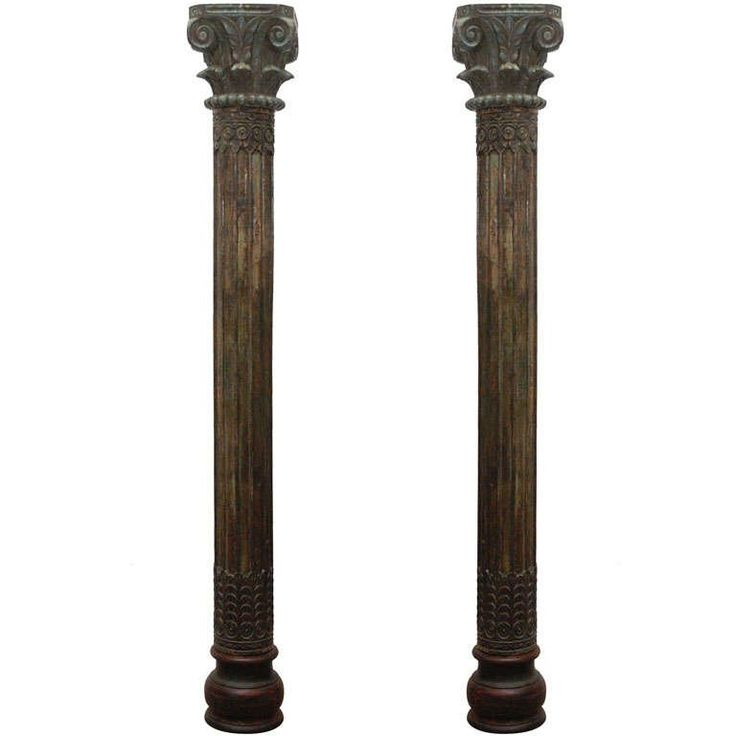 Pair of Carved Wooden Pillars Columns | From a unique collection of antique and modern pedestals and columns at https://www.1stdibs.com/furniture/building-garden/pedestals-columns/