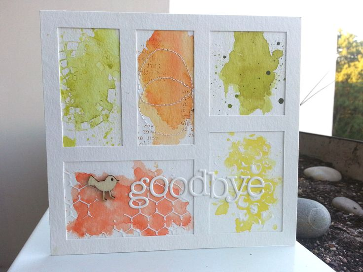 """Bonsoir!!!   Ma dernière carte """" goodbye """" (faite pour le départ d'une collègue) ayant beaucoup plu, on m'a demandé d'en faire une autre, po..."""