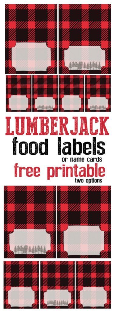 Lumberjack food labels or name cards free printable. Adorable lumberjack decor for your birthday party, baby shower, or woodsy wedding.