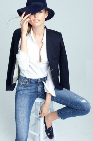 Denim + Hat and blazer: Hats, Fashion, Style, J Crew, White Shirts, Jeans, Classic White, Jcrew, Black Blazers