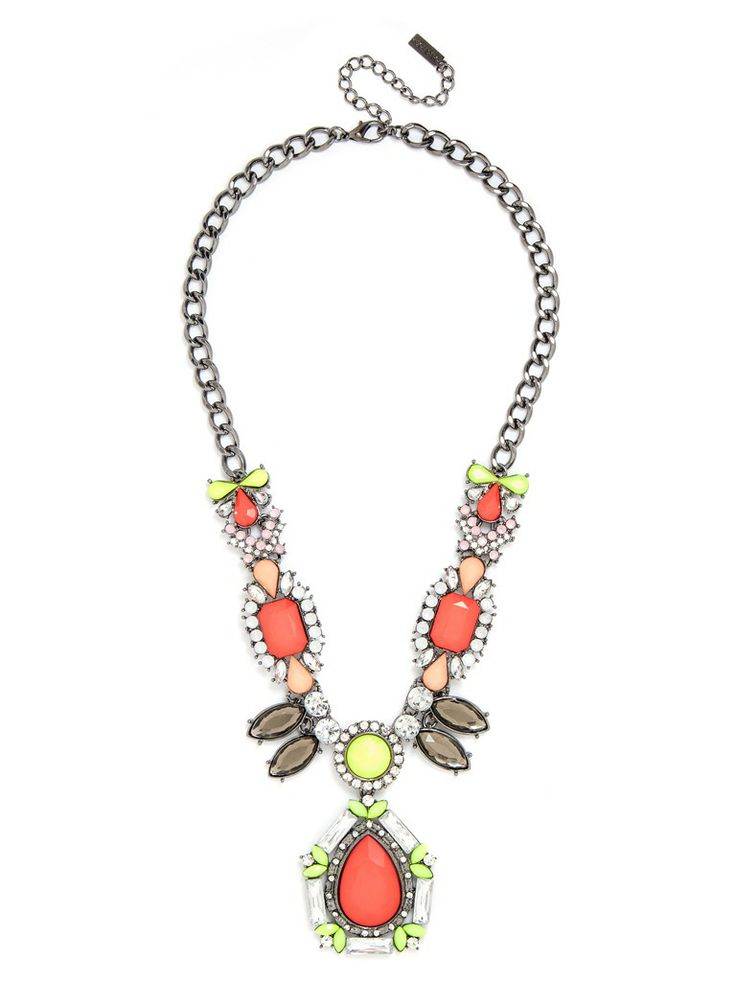 Bright coral and fluorescent yellow are the defining hues on this neo-tribal necklace, detailed with a crystal-embellished pendant and marquise-cut stones.