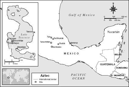 Map showing the sites of the ancient Aztec civilization in Mesoamerica. Map by XNR Productions. The Gale Group.