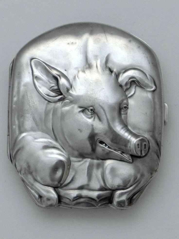 Zigarettenetui Silber 800 Schwein um 1900