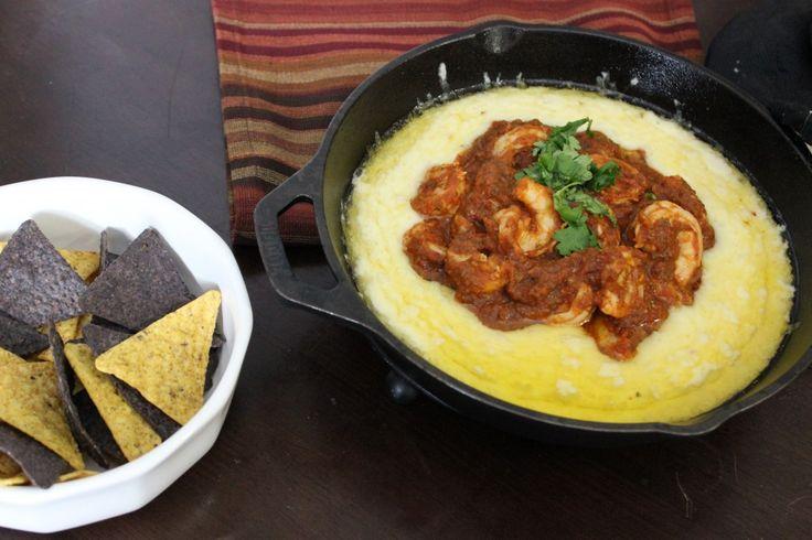 queso flameade with chipotle ranchera shrimp salsa