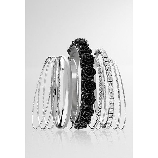 Avenue Floral Bangle Set ($2.88) ❤ liked on Polyvore featuring jewelry, bracelets, black, plus size, imitation jewelry, rhinestone bangles, bangle jewelry, artificial jewellery and floral jewelry