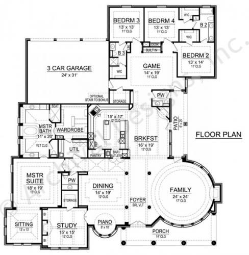 Gray Stone House Plan First Floor Plan Round family room might take some getting used to but I love this layout!!!! And great spaces!!!!