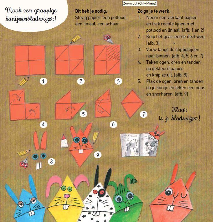 Maak een grappige konijnenbladwijzer! In 5 eenvoudige stappen vouw je een bladwijzer.