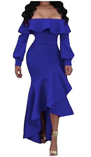 b7ab652dc6ef Zago Women s Bodycon Off Shoulder Long-Sleeve Flouncing Chest Wrapped Sexy  Evening Dress