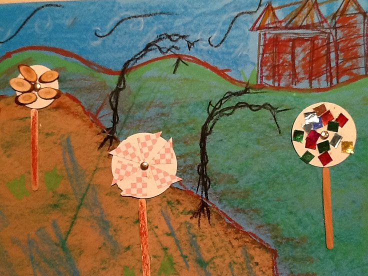 Windmills on a Windy Farm based on The Windy Farm by Doug McLeod. Materials used: coloured paper; brown paper; oil pastels; cardboard wheels; twig chips; mosaic squares; pop sticks; This idea comes from Zart Art Book Week PD.