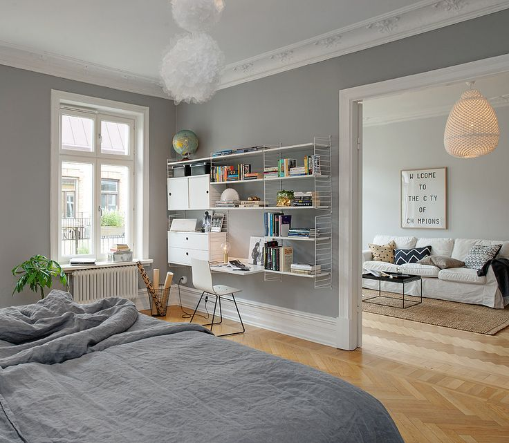 Grey walls in the bedroom are so beautiful - via cocolapinedesign.com