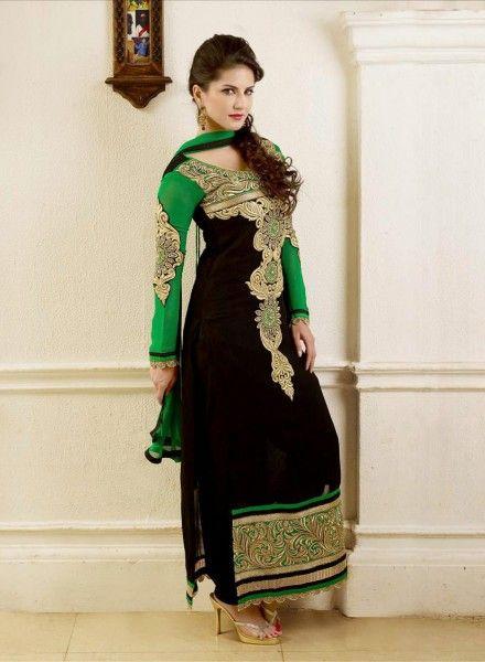 Buy Bollywood Sunny Leone Black & Green Anarkali $72.59 . shop at - bollywood-ankle-length-anarkali.blogspot.co.uk/2014/06/buy-bollywood-sunny-leone-black-green.html