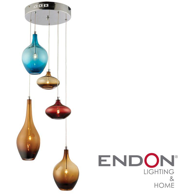 Endon 'Kellaway' 5 Light Multi Coloured Glass Ceiling Pendant, Chrome Plate - 61333 None