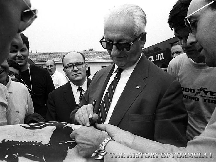 Enzo Ferrari signs autographs during the Italian Grand Prix in 1966. #formula1 #f1 #f1history #f1pictures