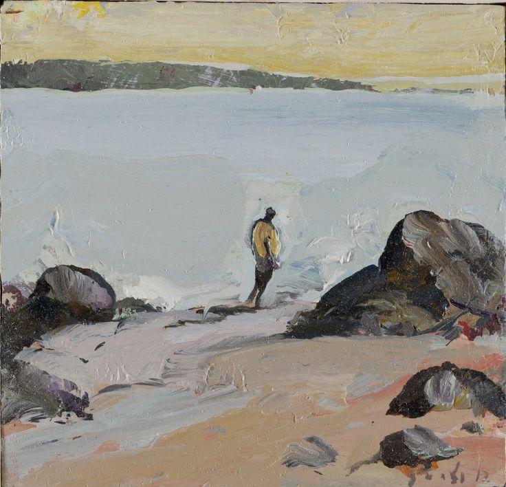 Tuomo Saali, Silently I Turn Away, oil on canvas 2012, 28x28cm